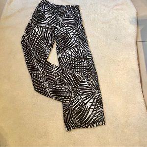 Zara brown white print open wide leg pants S
